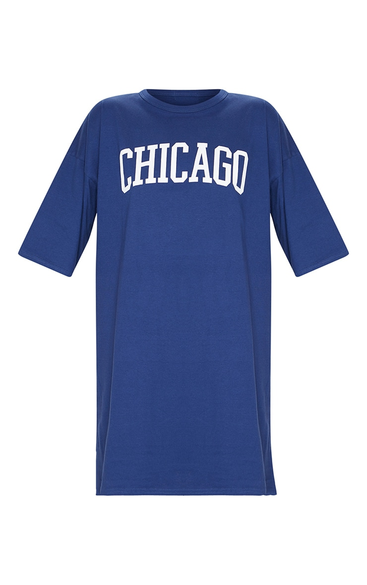 Navy Chicago Slogan Oversized T Shirt Dress 5