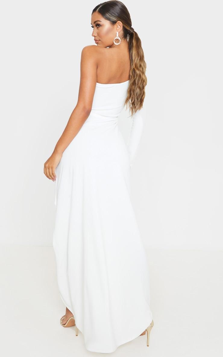 White One Shoulder Drape Skirt Maxi Dress 2