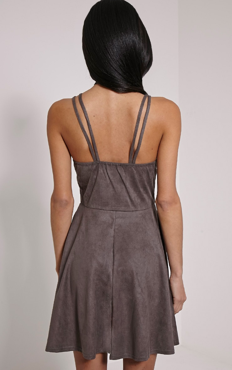 Issa Charcoal Eyelet Faux Suede Skater Dress 2