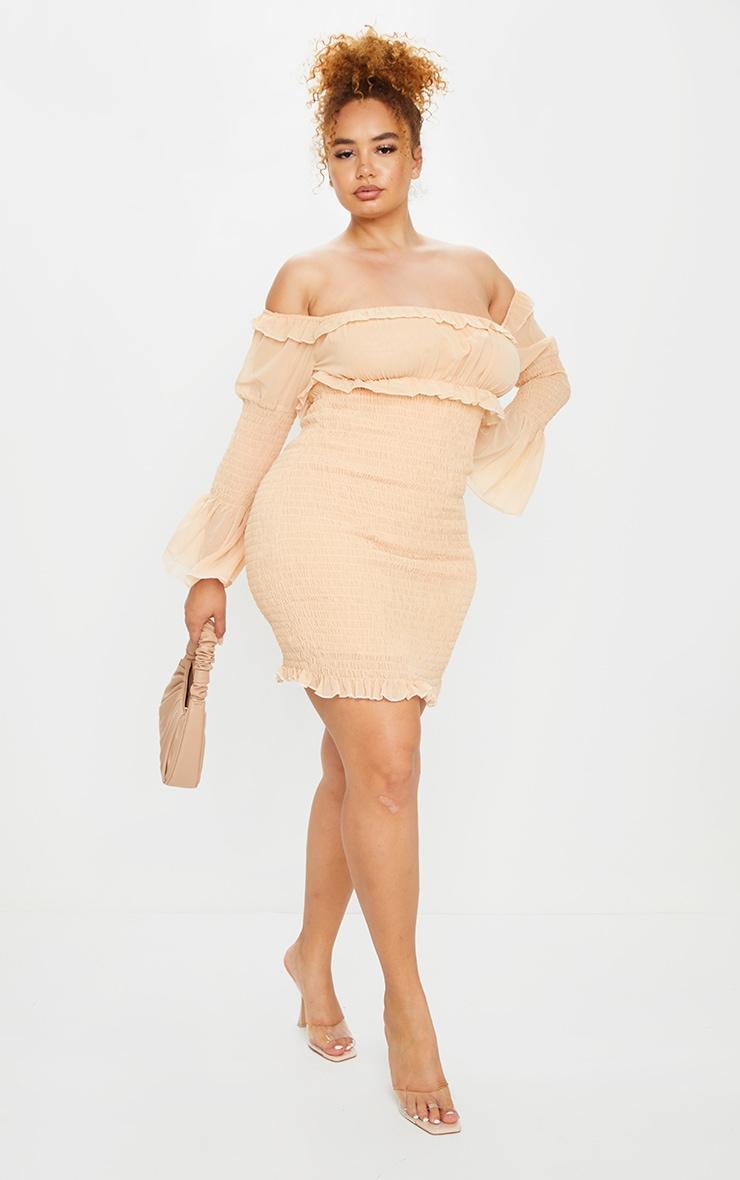 Plus Stone Chiffon Shirred Bodycon Dress 1
