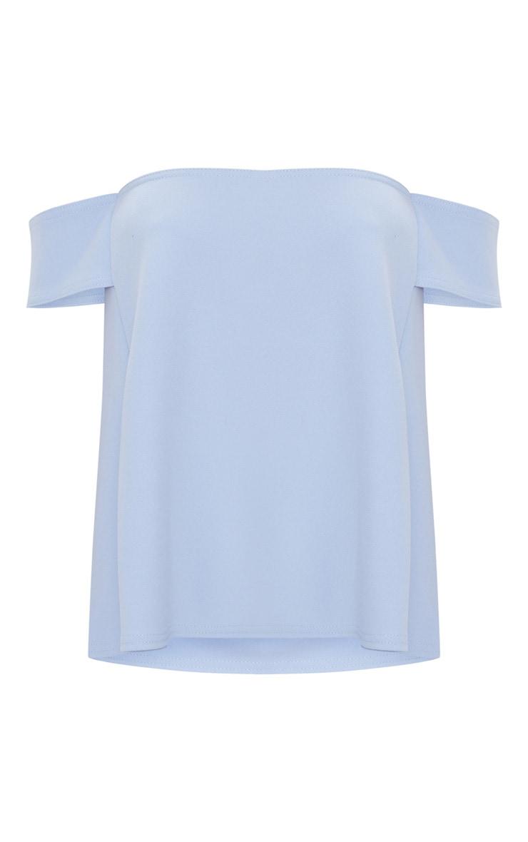 Pale Blue Bardot Longline Scuba Top 3