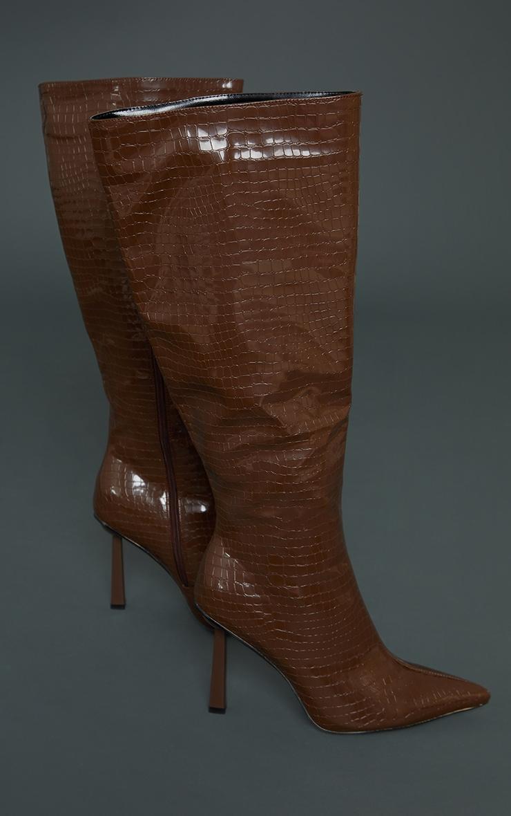 Chocolate PU Croc Pointed Knee Boots 3