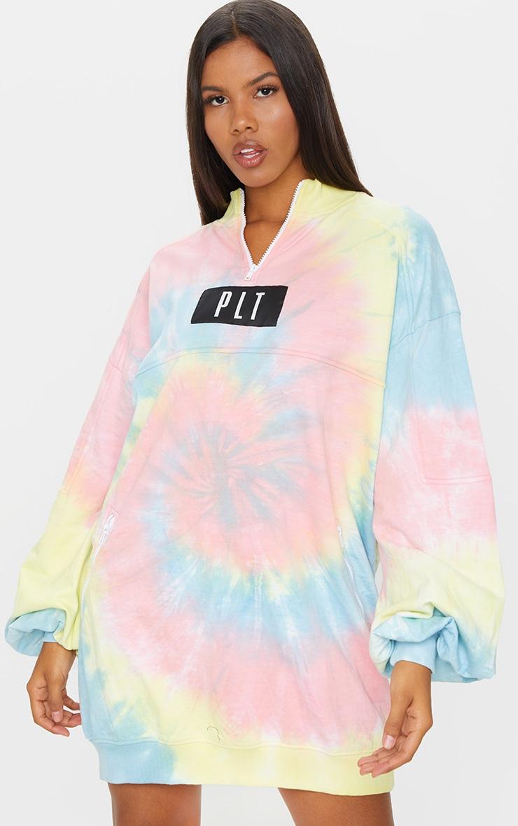 PRETTYLITTLETHING Tie Dye Double Zip Sweat Jumper Dress 3