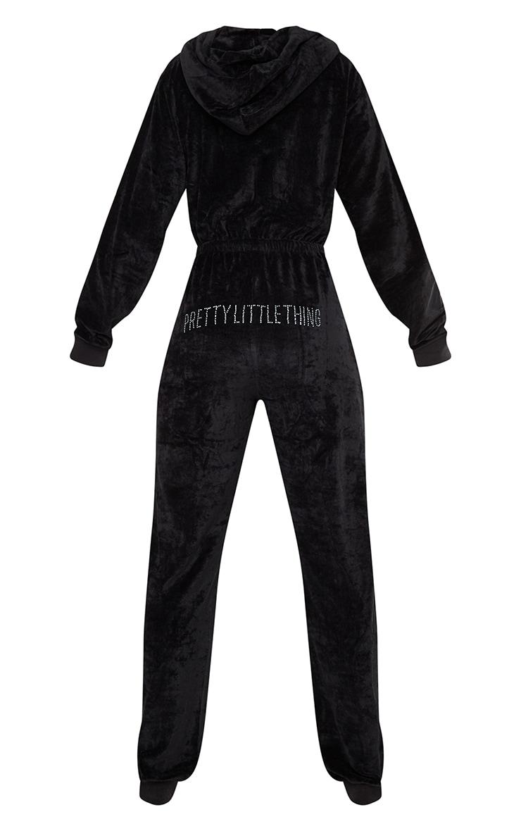 PRETTYLITTLETHING Black Diamante Velour Jumpsuit 6