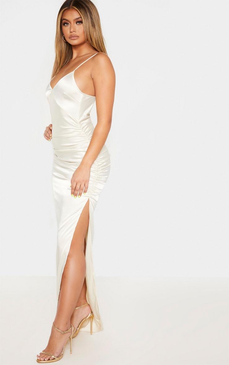 Cream Strappy Satin Ruched Split Leg Maxi Dress 4