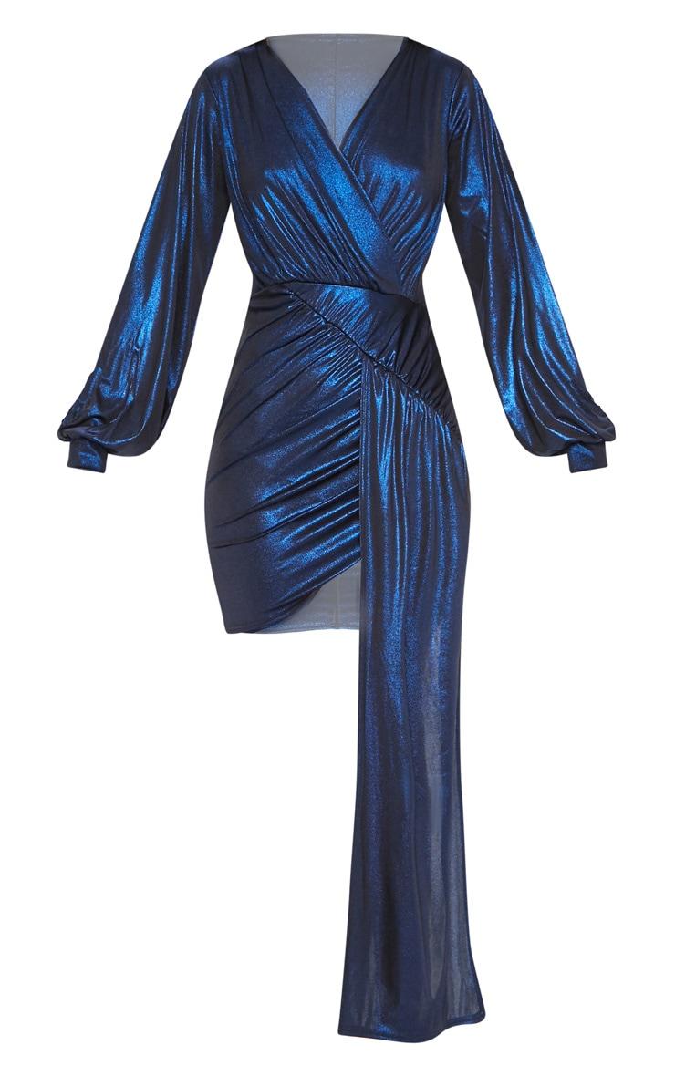 Blue Metallic Slinky Drape Dress Dresses
