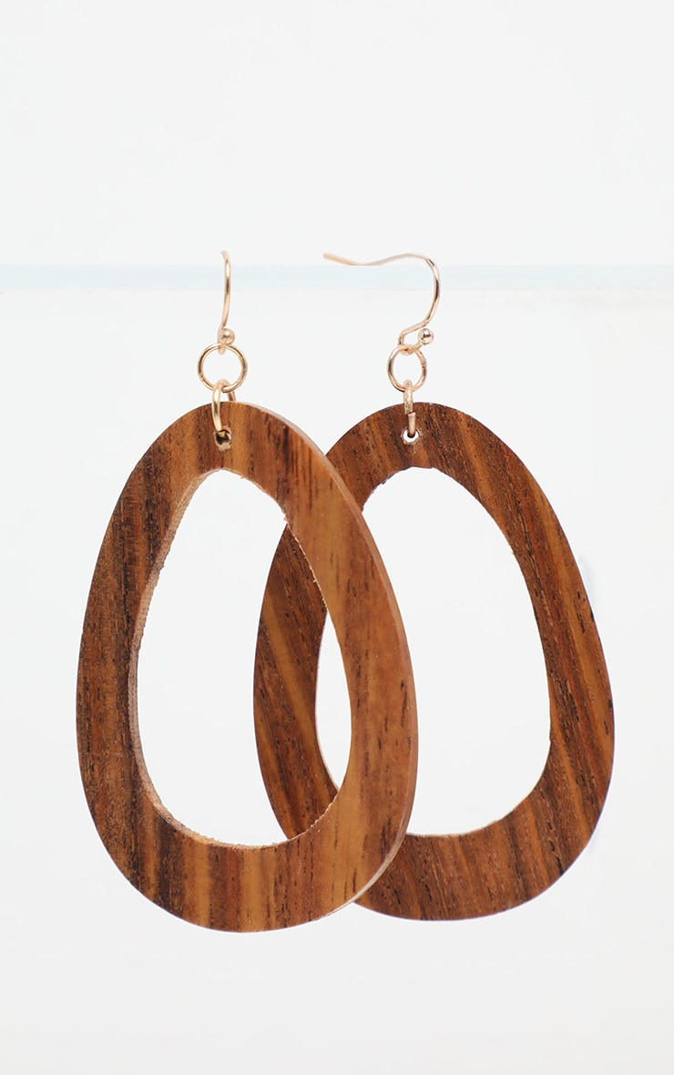 Brown Asymmetric Wooden Hoops 3