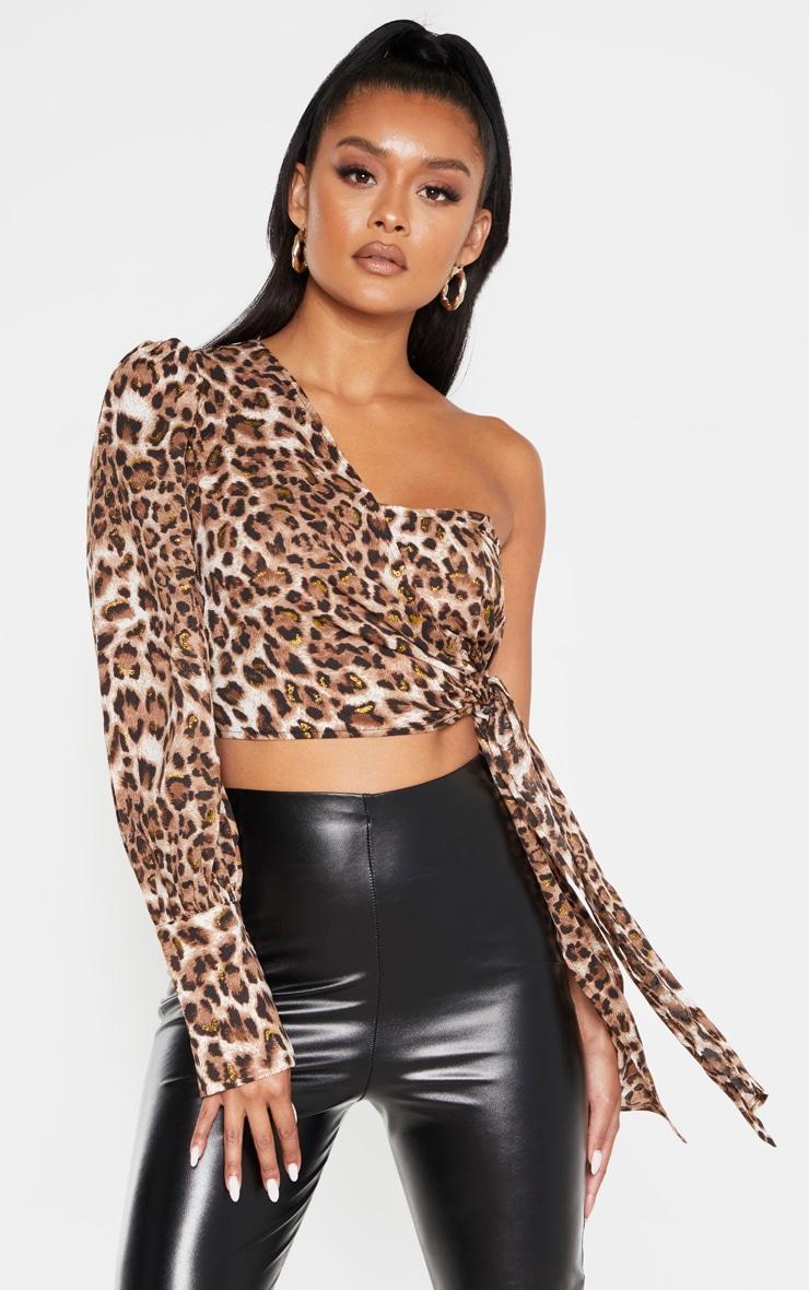 Tan Leopard One Shoulder Tie Side Crop Blouse 1