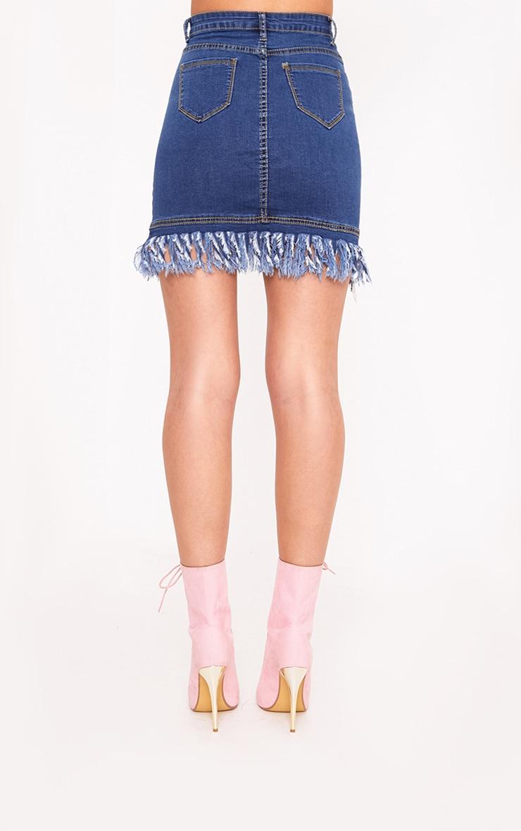 Mid Wash Fringe Hem Denim Mini Skirt 5