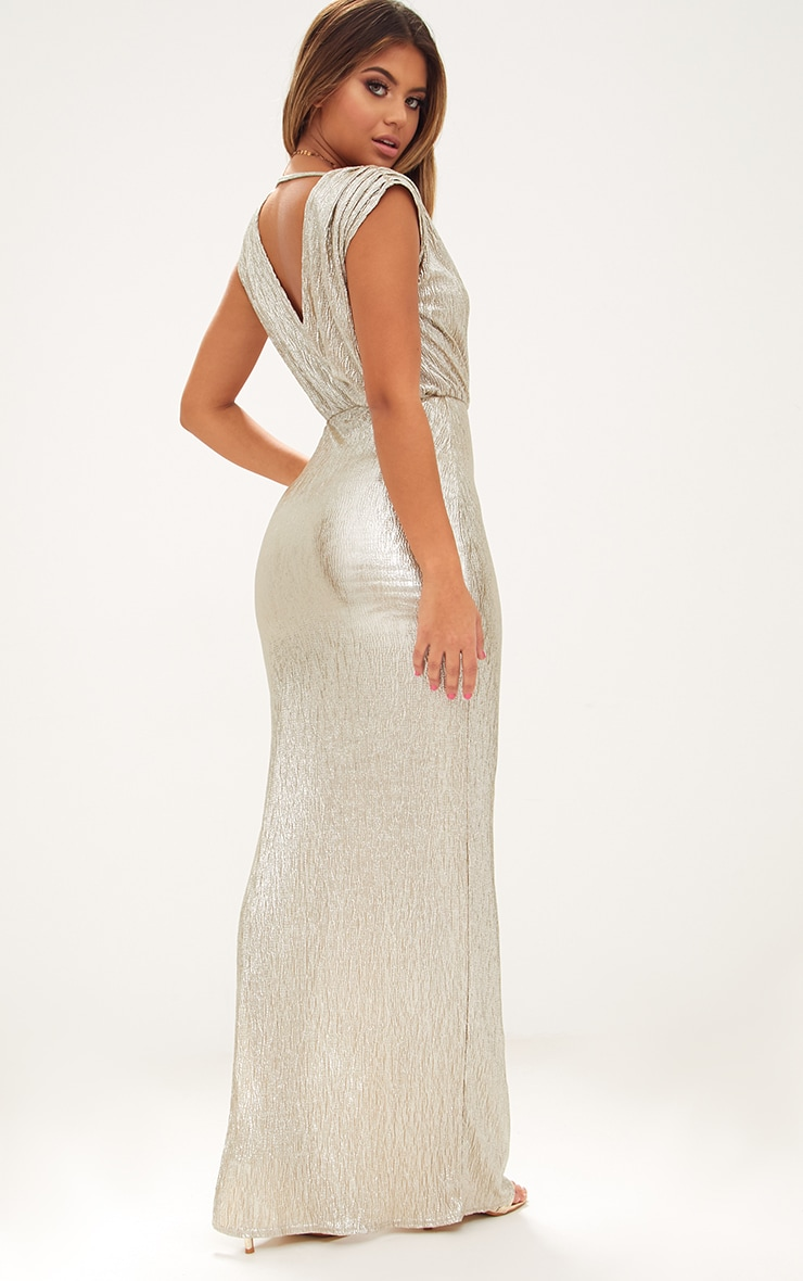 Gold Pleated Foil Extreme Plunge Maxi Dress 2