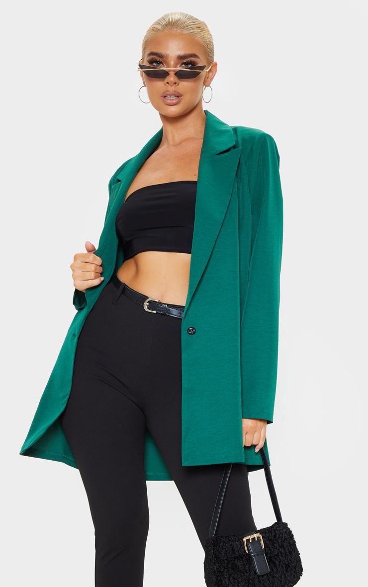 Blazer Vert émeraude Tissé Très Oversize  by Prettylittlething