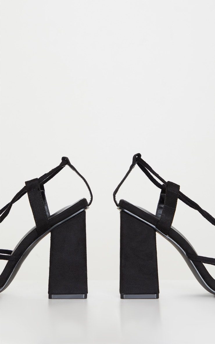 Black Chunky Block Heel Strappy Ankle Tie Sandals 3