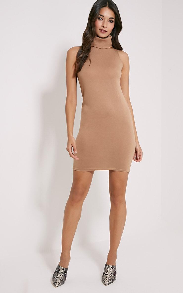 Yelena Camel Knitted Marl Roll Neck Dress 3