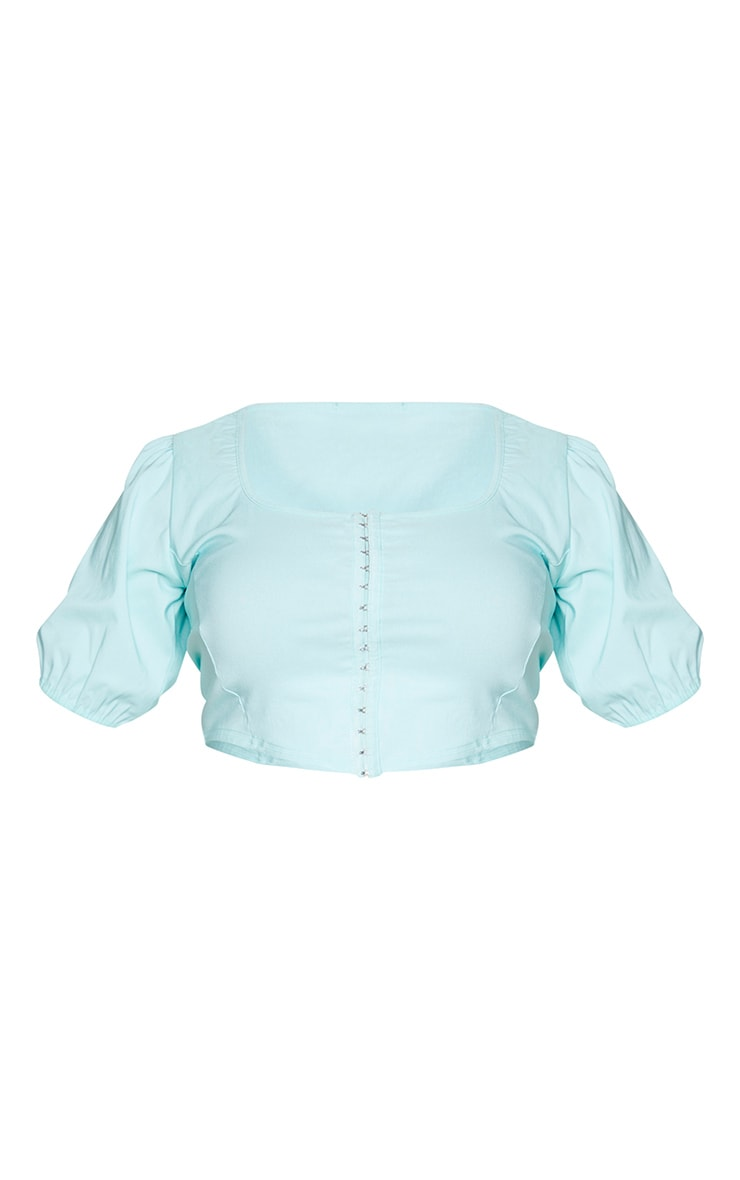 Plus Mint Stretch Hook And Eye Puff Sleeve Crop Top 5