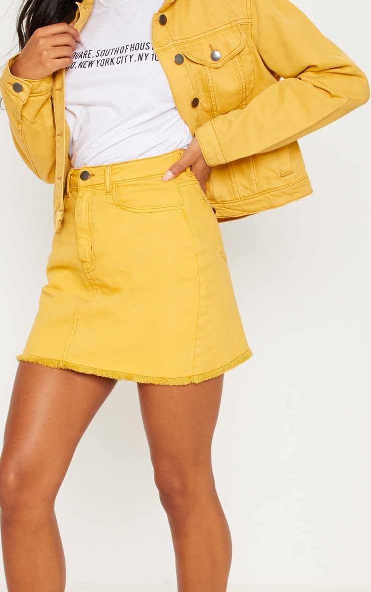 Mustard Distressed Denim Mini Skirt 6