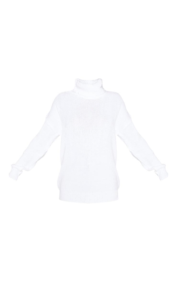 White High Neck Fluffy Knit Jumper 3