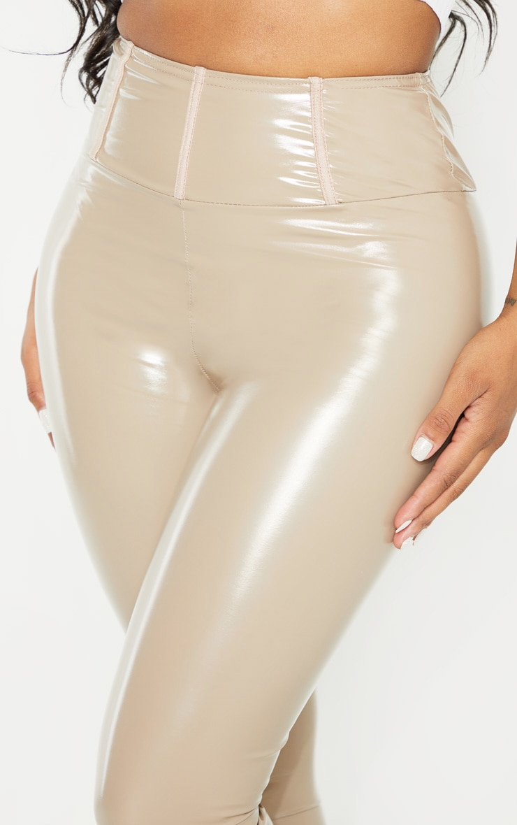Shape Taupe High Waist Vinyl Leggings 5