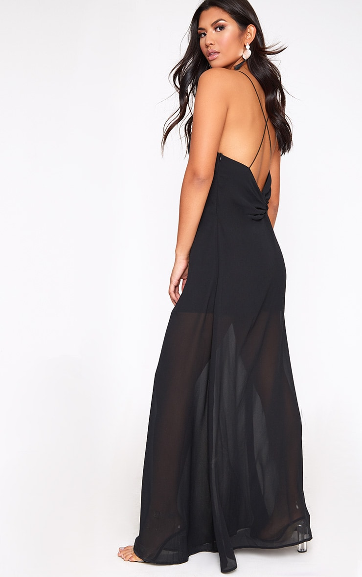 Black Knot Back Maxi Dress 2