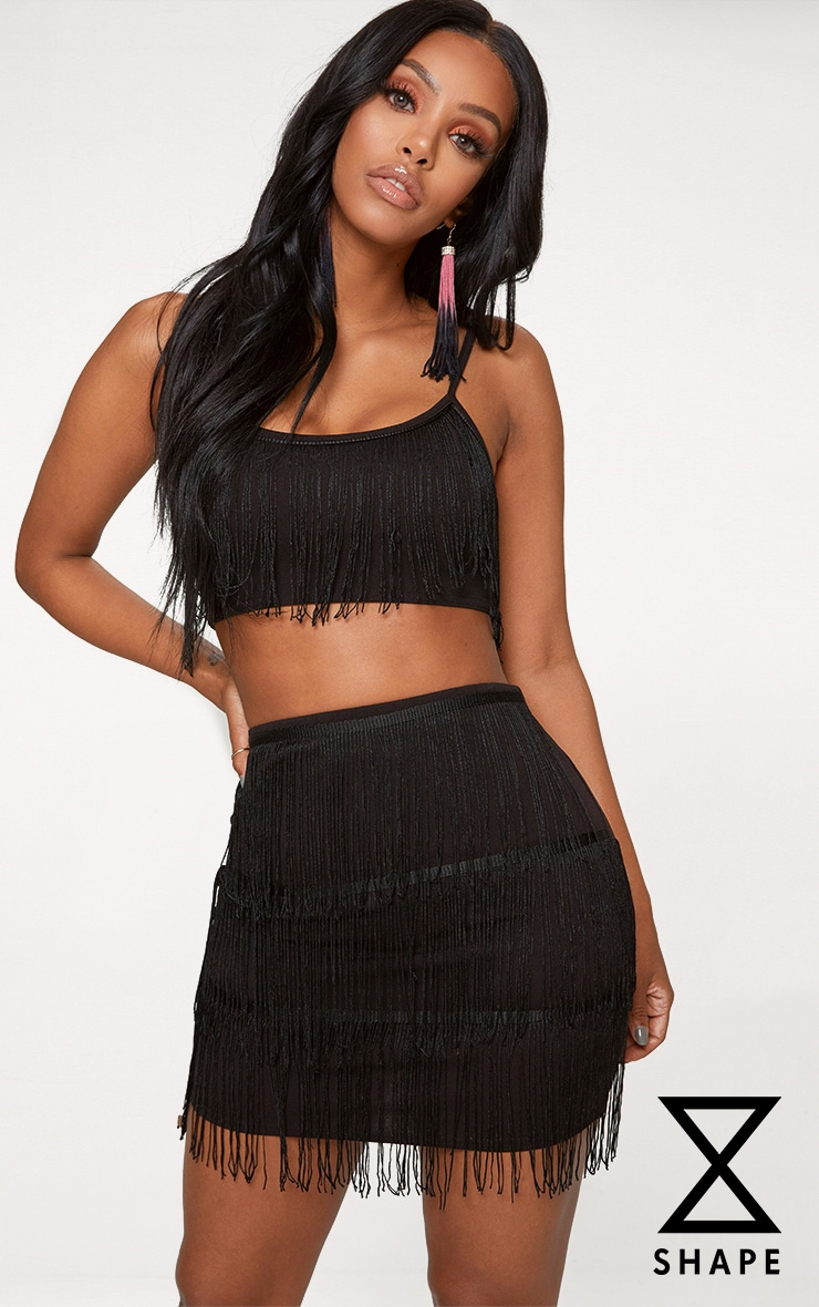 Shape Black Tassel Mini Skirt 1