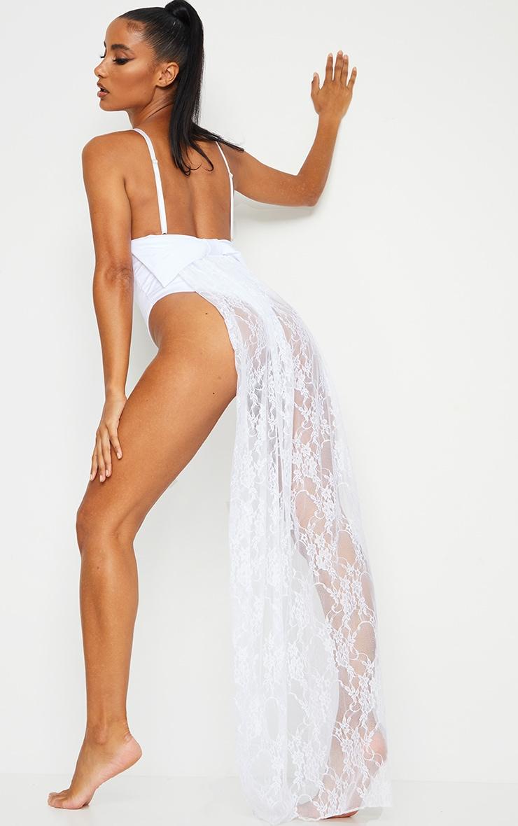 White Bridal Bow Back Lace Train Swimsuit 1