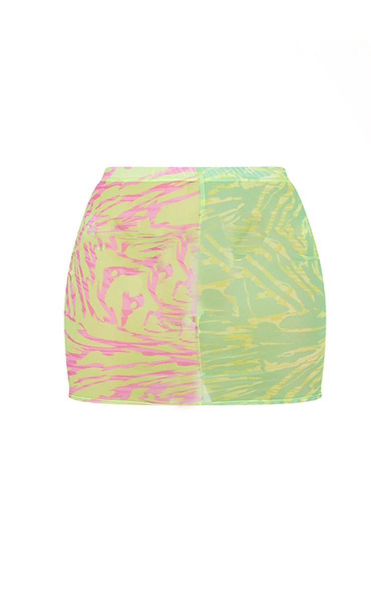 Plus Lime Abstract Print Mesh Mini Skirt 6