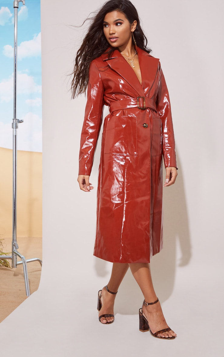Toffee Vinyl Trench Coat 5