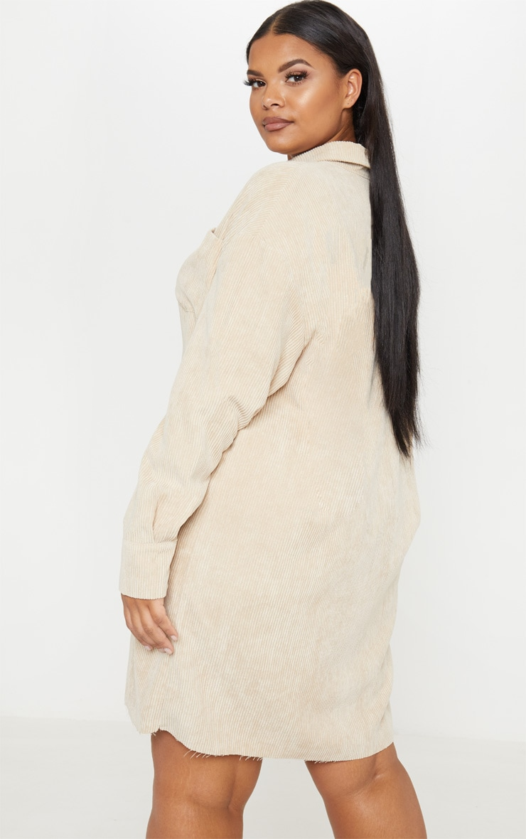 Plus Camel Corduroy Oversized Shirt Dress 2