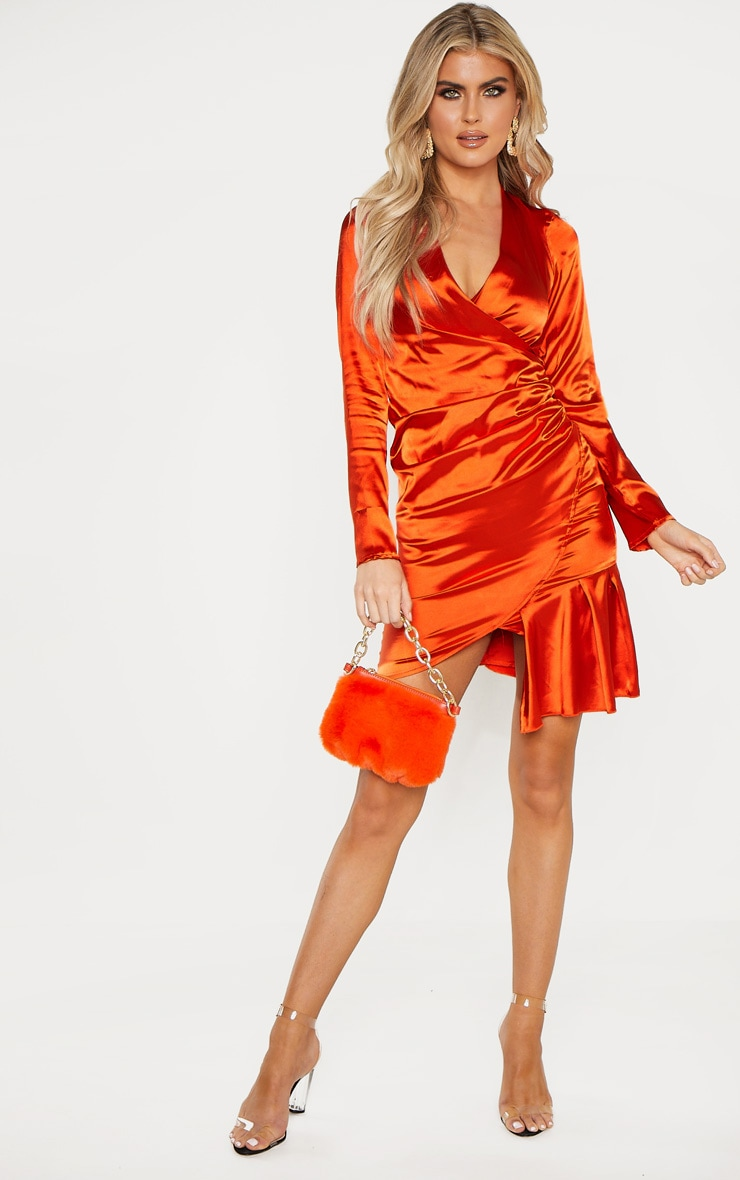 Tall Orange Satin Ruched Long Sleeve Bodycon Dress 4
