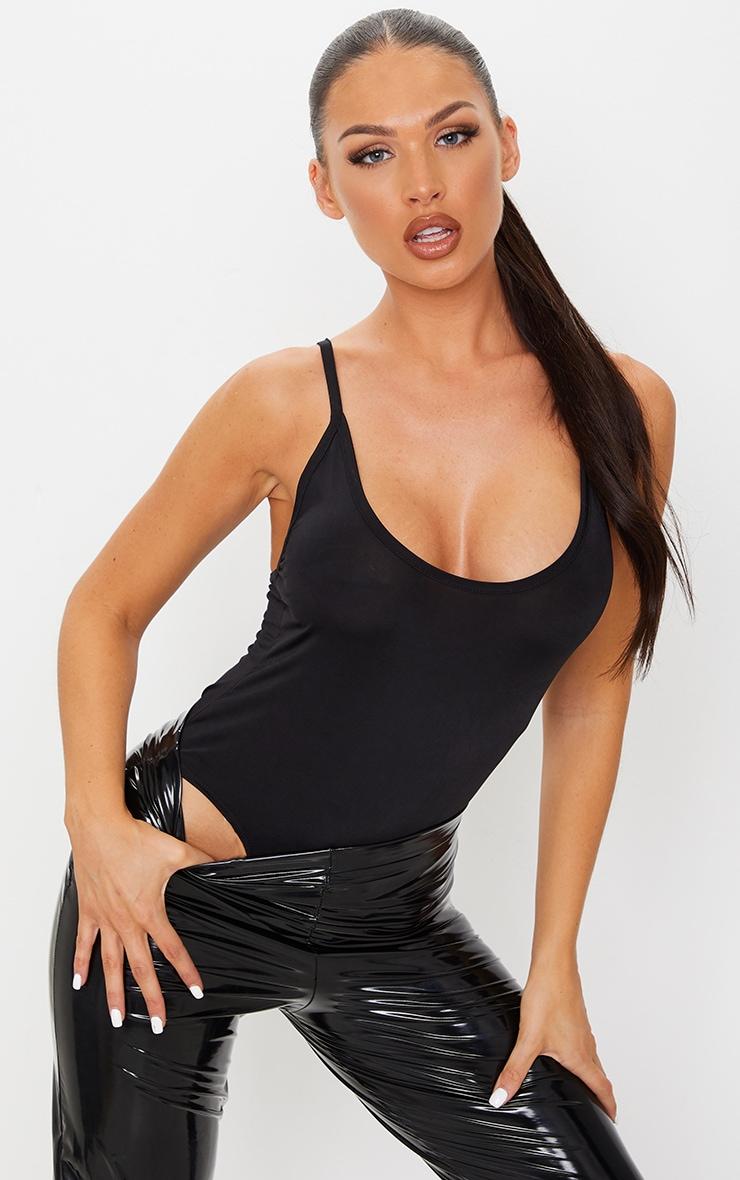 Black Soft Touch Strappy Bodysuit 1