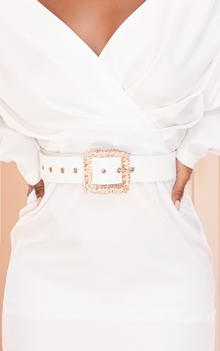 White Leaf Buckle Effect Waist Belt 1