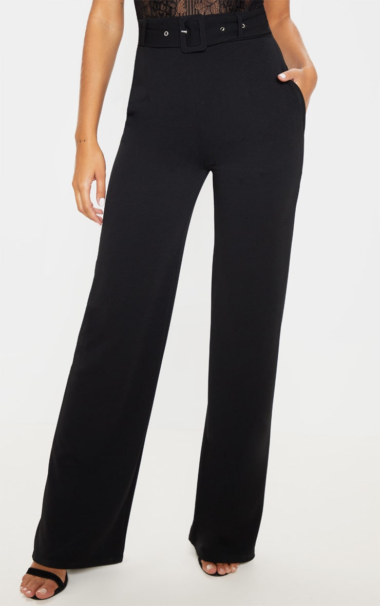 Black Belted Wide Leg Trouser 2