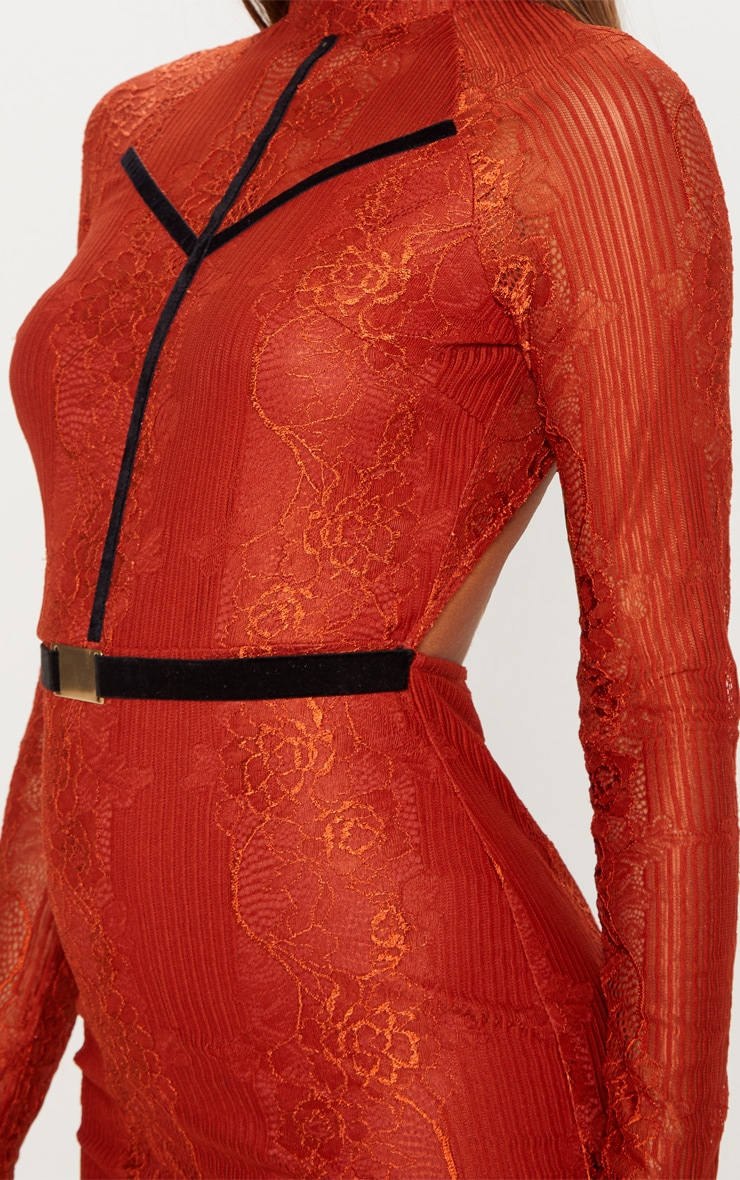 Rust Ribbed Lace Backless Bodycon Dress 5
