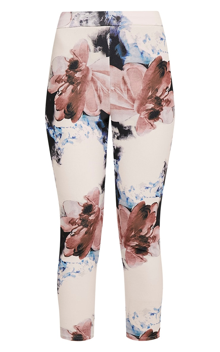 Natillia Navy Floral Cropped Trousers 3