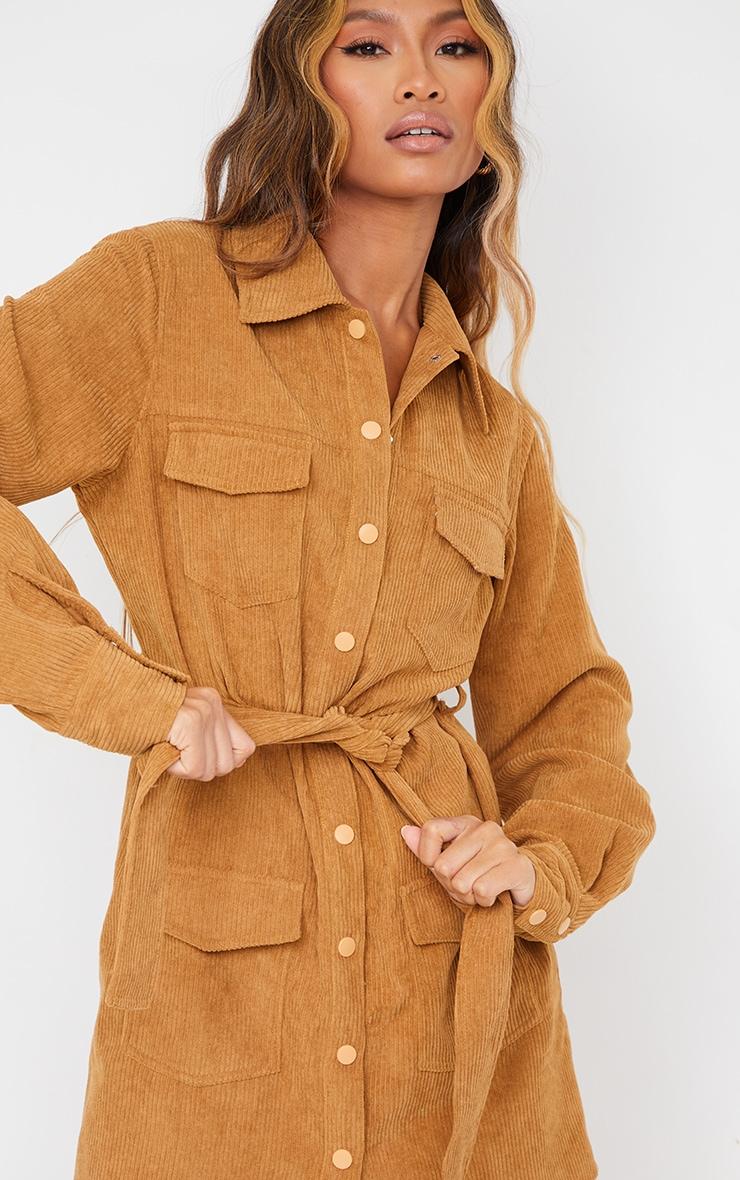 Camel Pocket Detail Popper Tie Waist Cord Shirt Dress 4