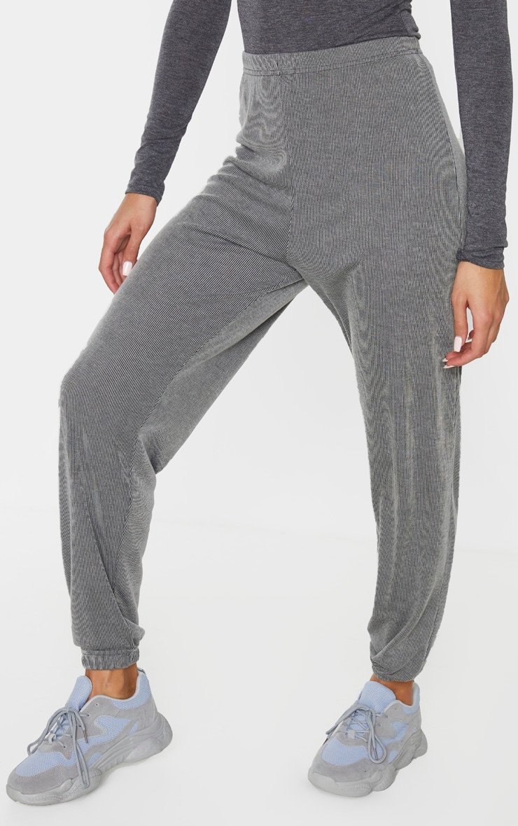 Grey Contrast Ribbed Casual Joggers 3