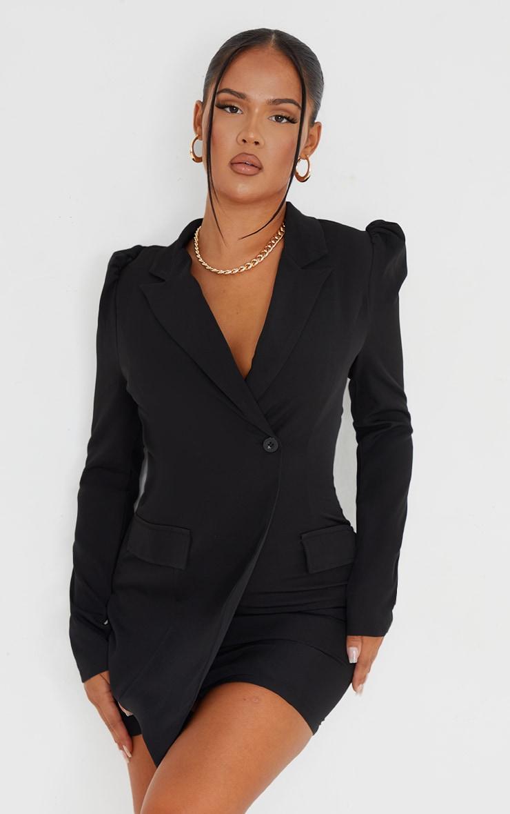 Black Long Sleeve Open Back Blazer Dress 1