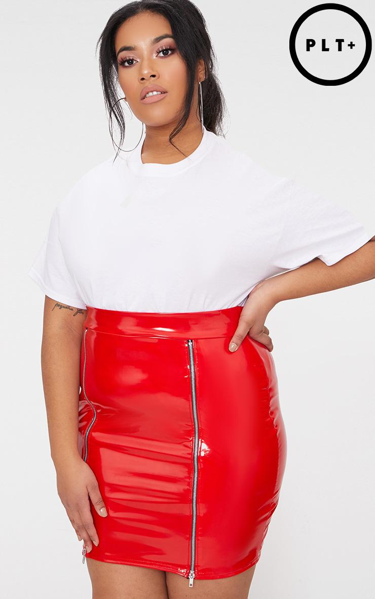 Plus Red Vinyl Zip Detail Bodycon Skirt 1
