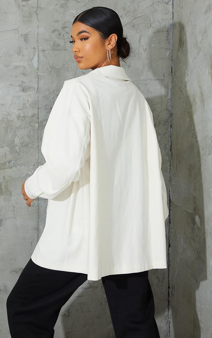 Cream Twill Pocket Detail Oversized Boxy Shirt 2