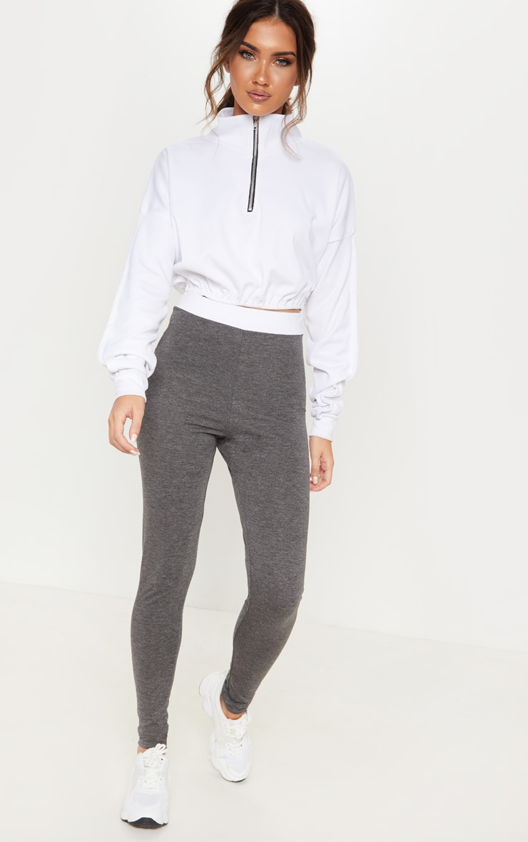 Dark Grey Contrast Waist Leggings
