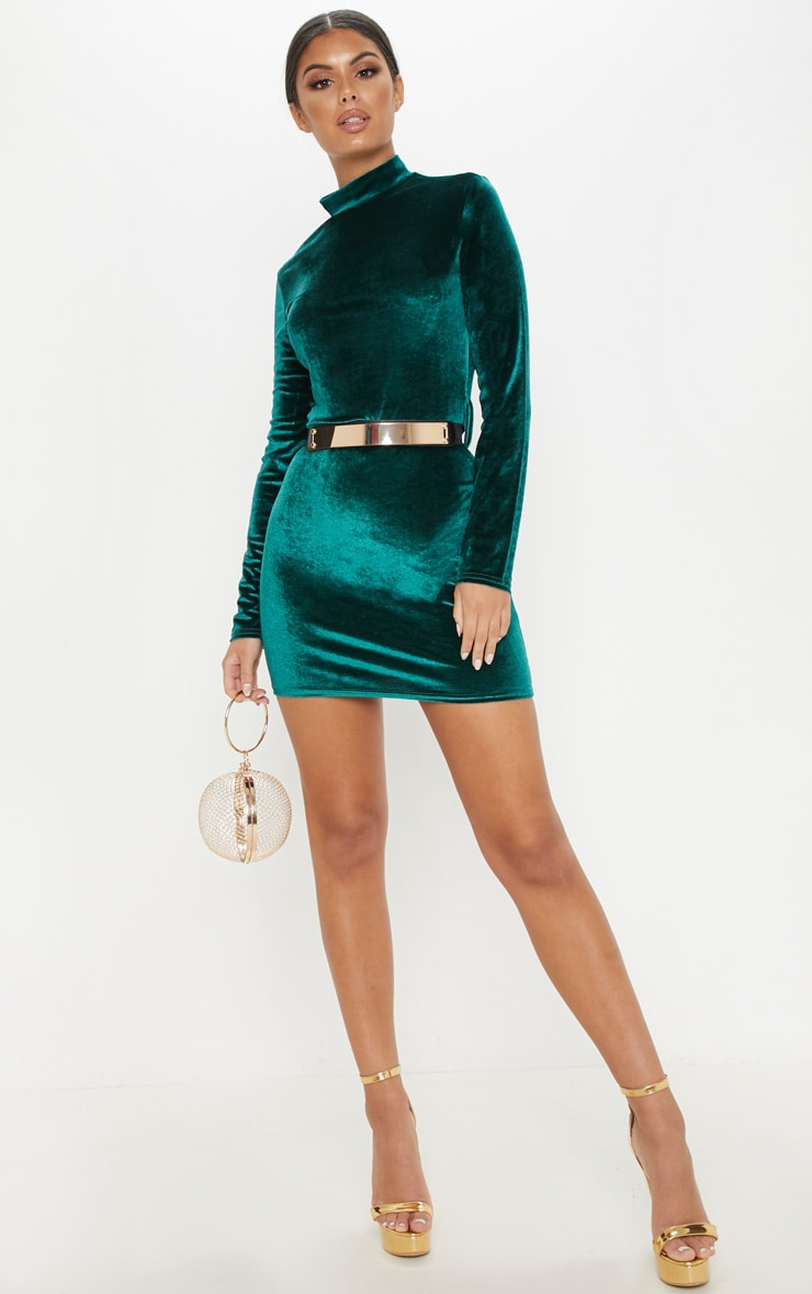 Emerald Green Velvet High Neck Belted Bodycon Dress 1