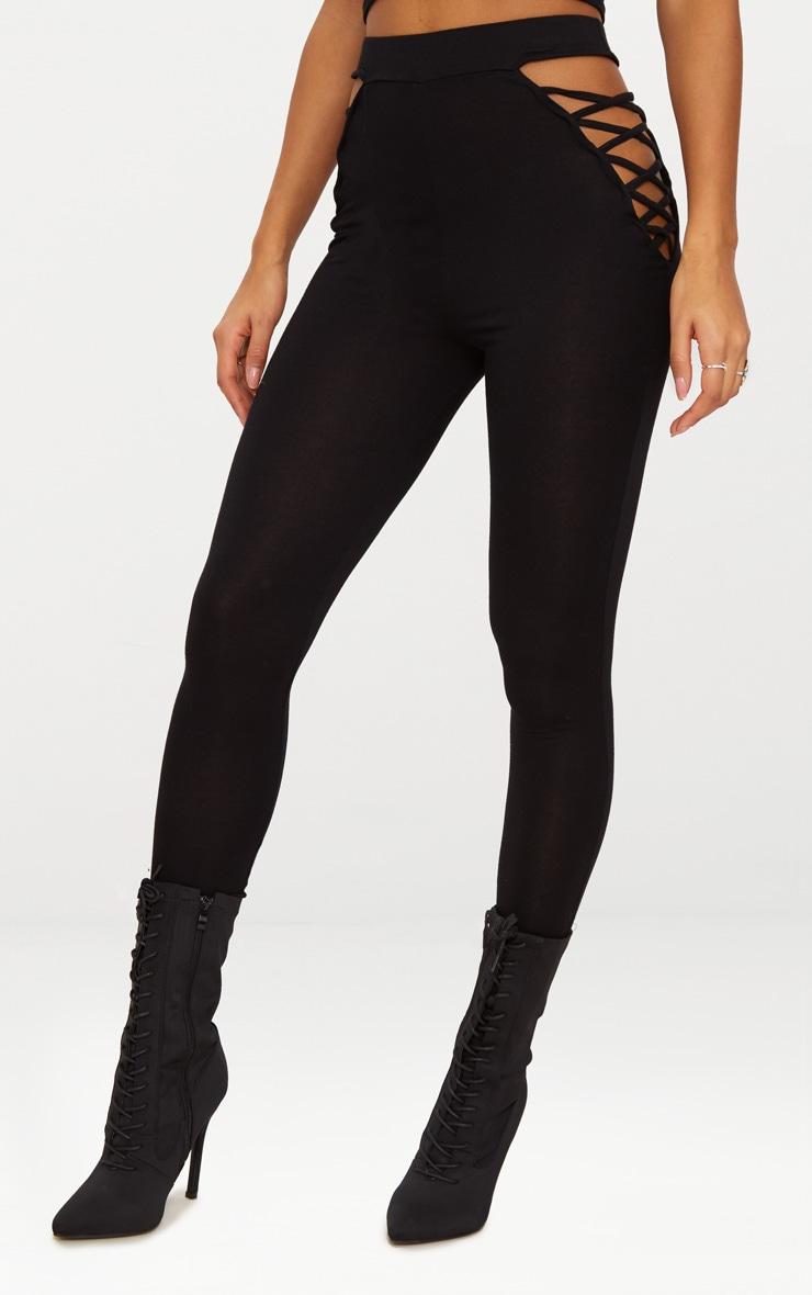 Black Jersey Lace Up Insert Leggings 2