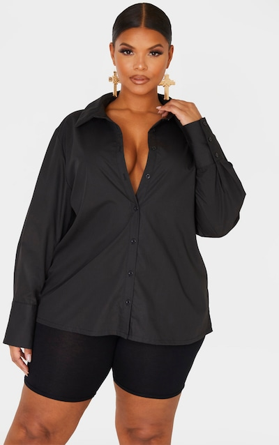 Plus Black Oversized Cuff Shirt