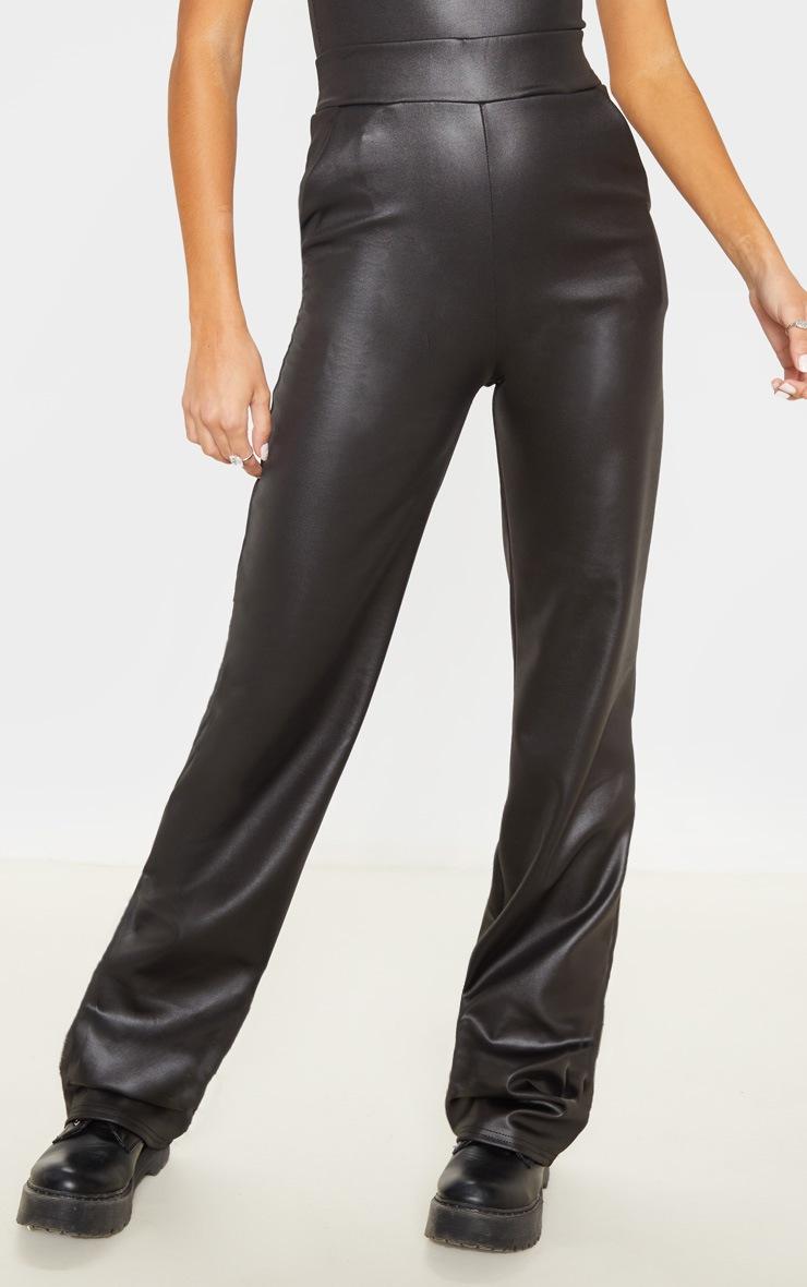 Tall Black Wide Leg PU Flared Trouser 2