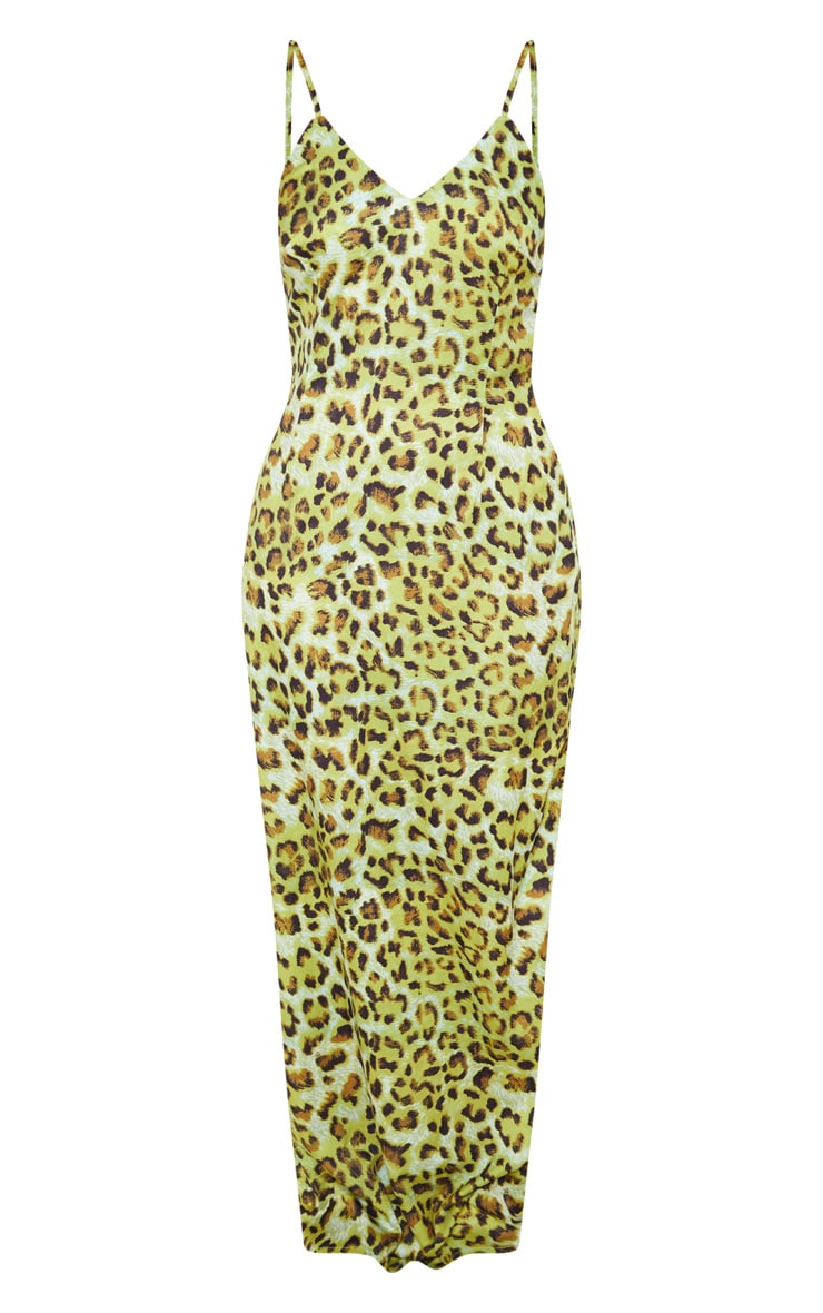 Lime Leopard Chiffon Maxi Beach Dress 3