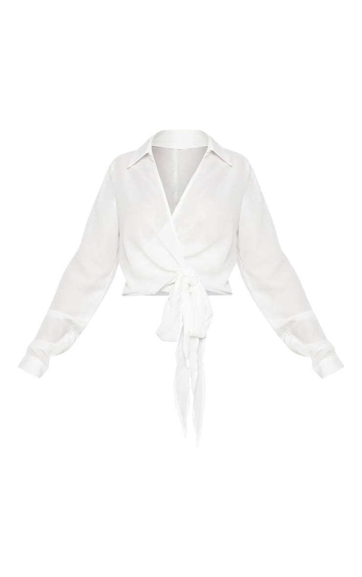 Petite White Wrap Front Tie Side Blouse 3