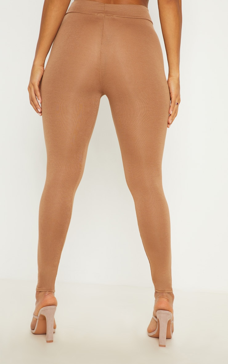 Basic Camel High Waisted Jersey Leggings 4