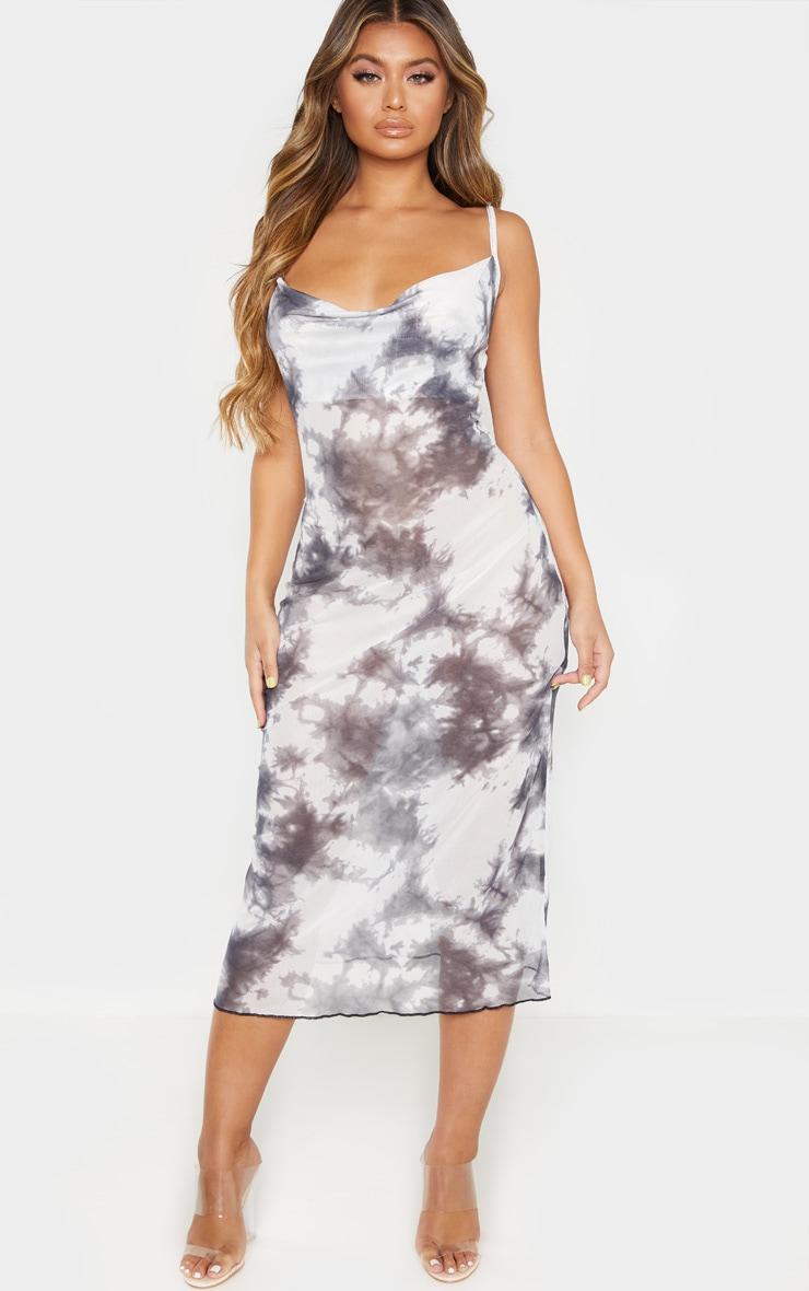 Grey Tie Dye Mesh Cowl Neck Midi Dress 1