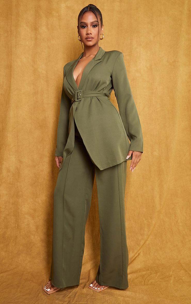 Khaki Woven Seam Front Tailored Wide Leg Pants 1