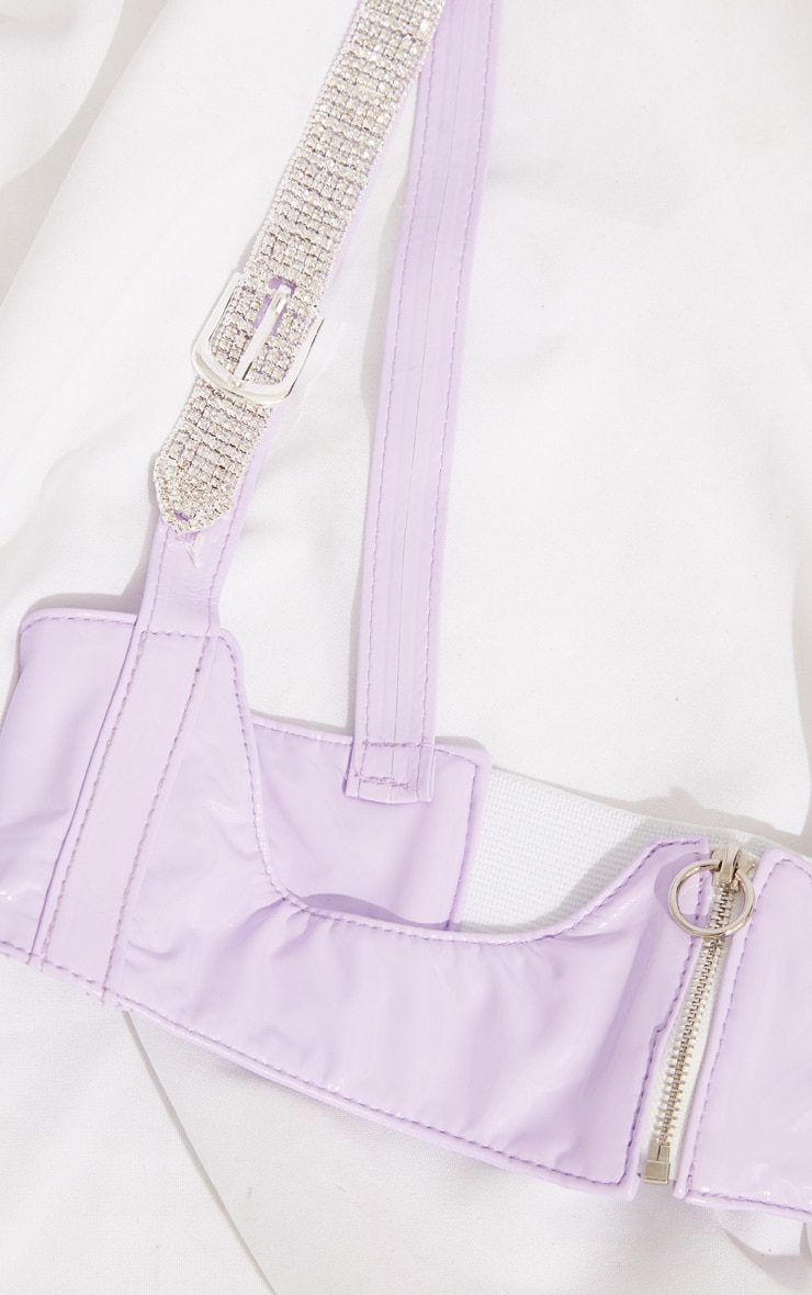 Lilac PU Diamante Trim Corset 4