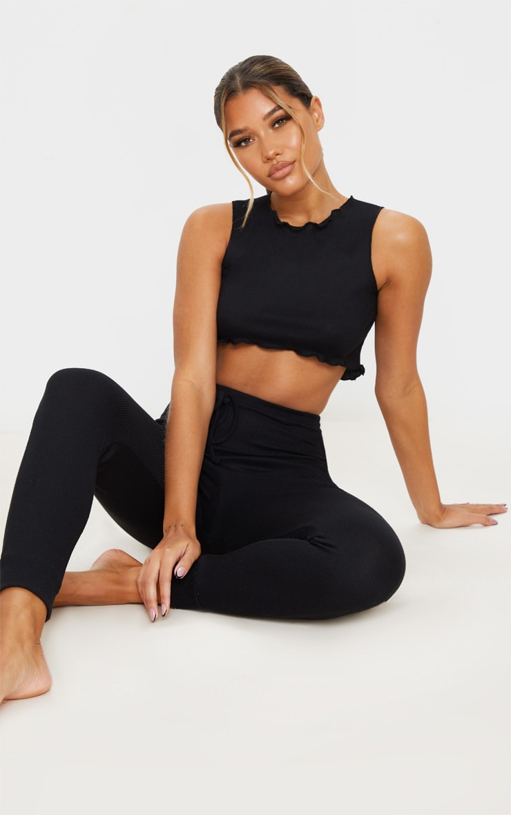 Black Ribbed Legging And Frill Edge Crop PJ Set 1